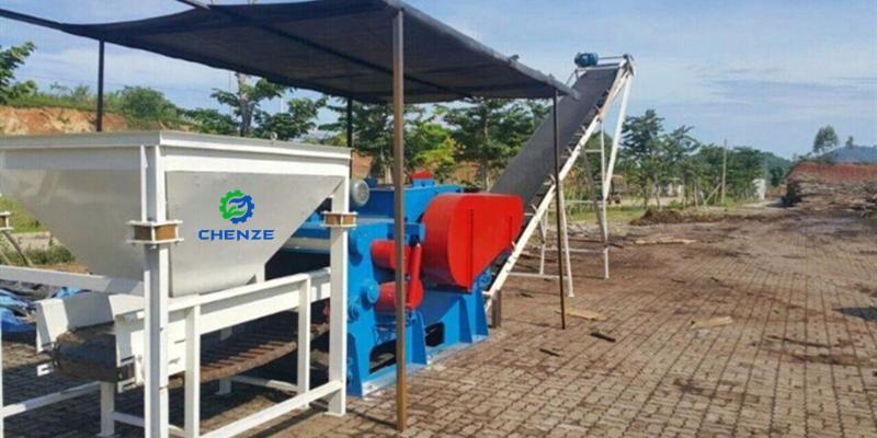 tree bark drum chipper crusher machine 6-8t export Vietnam testing